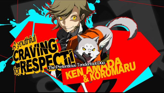 File:P4AU Shadow Ken and Koromaru render.jpg