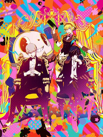 File:Illustration of the Protagonist, Aigis, Yu, and Teddie by Shigenori Soejima.jpg