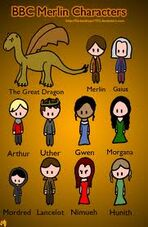 Merlin characters cartoon fan art