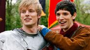 Arthur Pendragon Bradley James and Merlin Colin Morgan