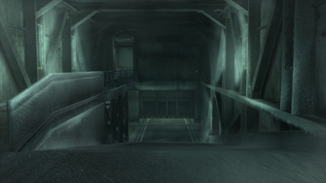 File:The Nuclear warhead storage building entrance (Metal Gear Solid 4).png