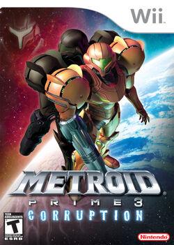"""Обложка коробки """"Metroid Prime 3: Corruption"""", выпущенной в Северной Америке"""