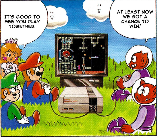 File:Mario and aliens play Metroid.png