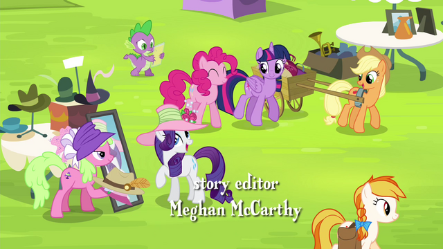 File:Mane 6 and Spike at the Traders Exchange S4E22.png