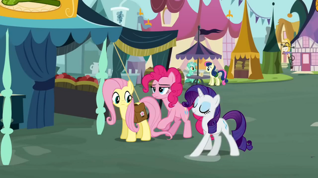 File:Fluttershy and Pinkie Pie and Rarity at Town Square S2E19.png