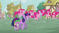 Pinkie Pie clones hopping in the background S3E03