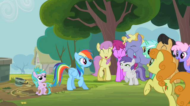 File:Rainbow Dash rescues a filly S2E8.png