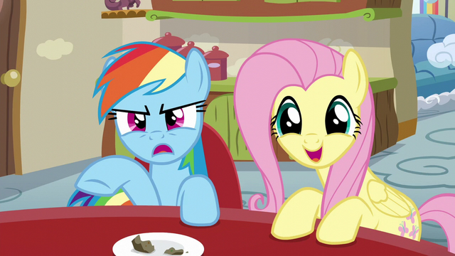 File:Rainbow about to rebut; Fluttershy interrupts S6E11.png