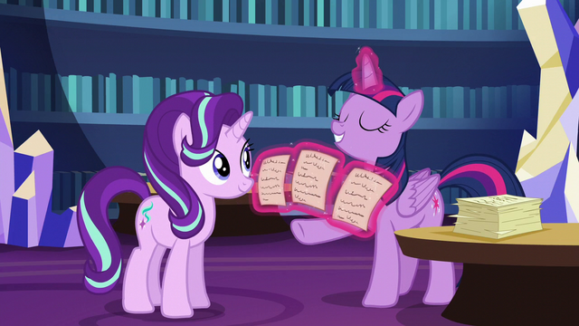 File:Twilight presents three friendship lesson options S6E1.png