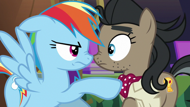 File:Rainbow confronts Caballeron cosplayer S6E13.png