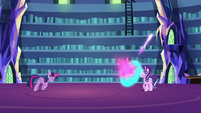 Twilight Sparkle fires magic at Starlight S6E21