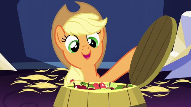 File:Applejack opening a barrel of apples S5E03.png