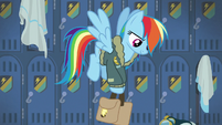 Rainbow Dash picking up her saddle bags S6E24