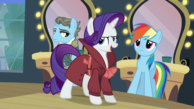 """File:Rarity """"by a girl pony with a raspy voice!"""" S5E15.png"""