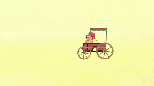 File:Applejack's cart trailing behind S6E14.png