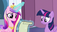 Cadance reads the spell written on the paper S6E2