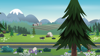 Legend of Everfree background asset - wooded highway 3