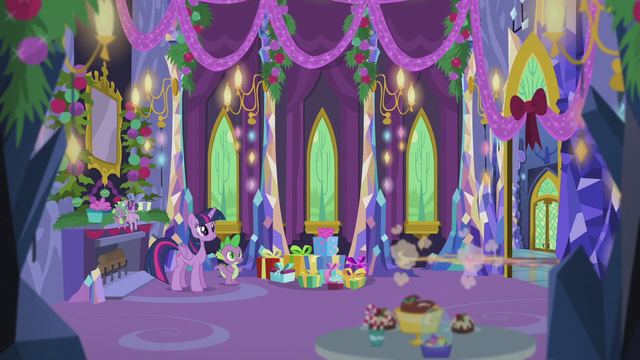 File:Pinkie and Applejack zoom out of the castle S5E20.png