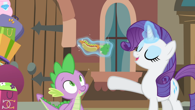 File:Rarity presents a hot dog to Spike S4E08.png