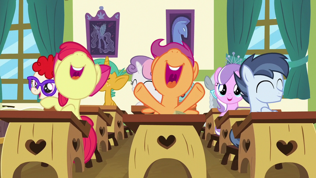File:School foals cheering loudly S6E14.png