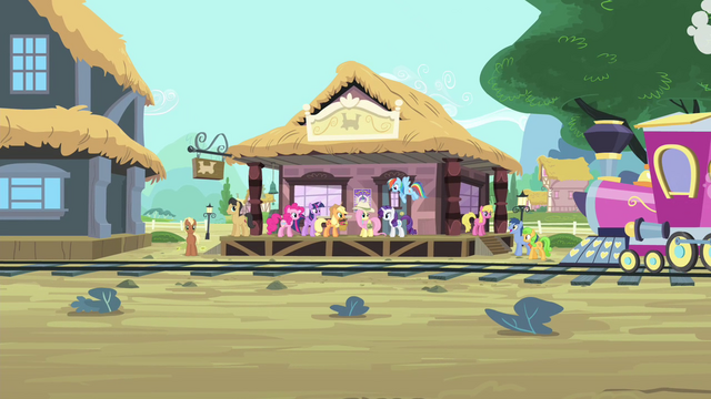 File:Mane 6 at the train station S4E11.png