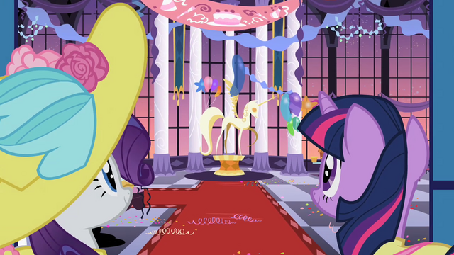 File:Rarity and Twilight look at the statue S2E09.png