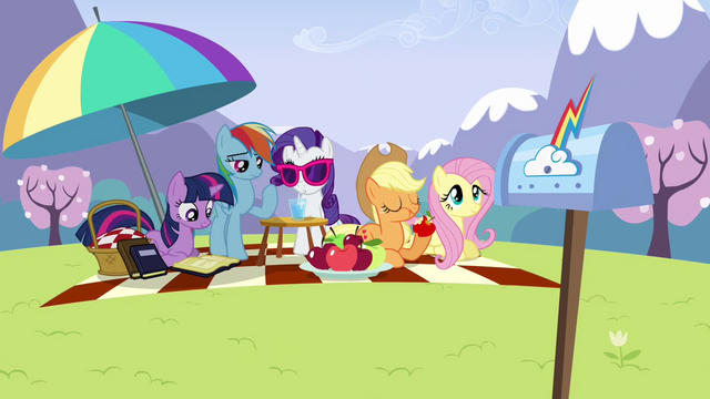 File:Main ponies relaxing at the panic S3E7.png
