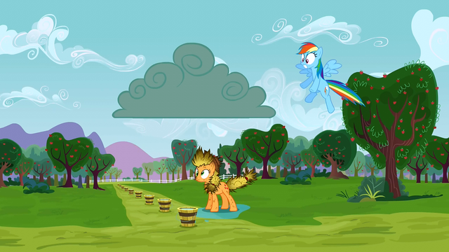 File:Applejack after being struck by lightning S3E8.png