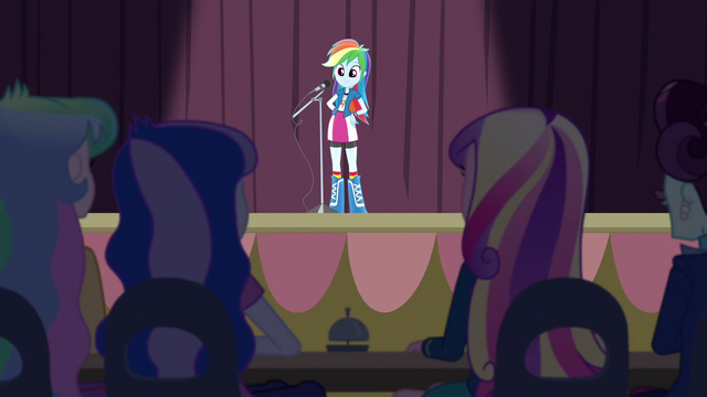 File:Rainbow Dash in front of microphone EG3.png