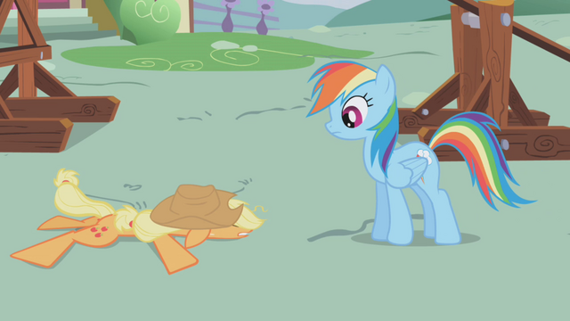 File:Rainbow looking at flat Applejack S1E04.png