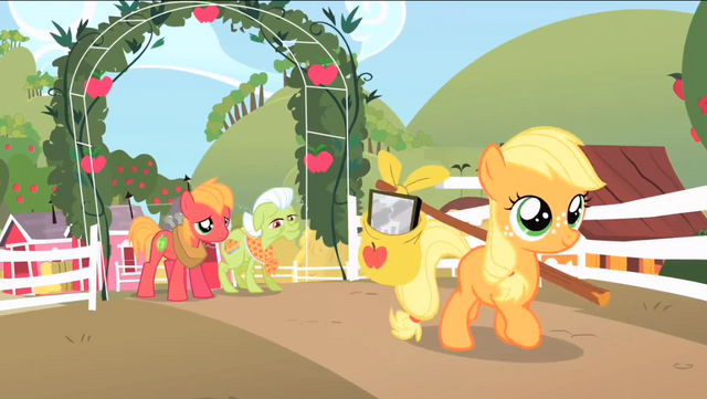 File:Filly Applejack leaving Sweet Apple Acres S1E23.png
