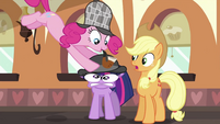Pinkie Pie putting hat on Twilight S2E24