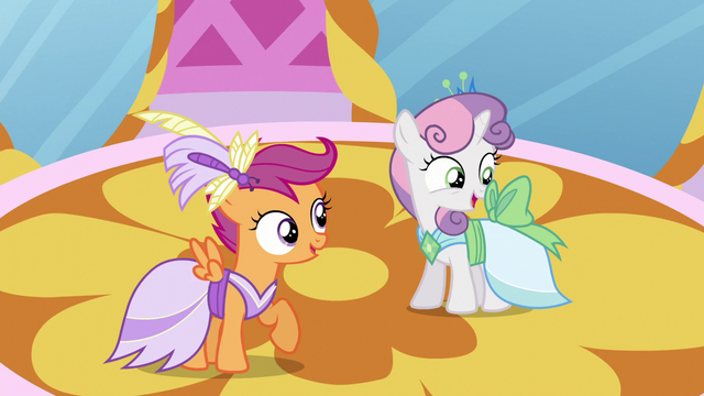 File:Scootaloo and Sweetie Belle in Gala dresses S5E7.png