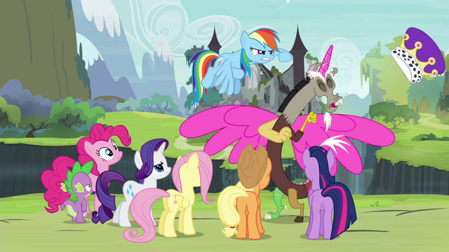File:Rainbow Dash knocks off Discord's hat S4E25.png