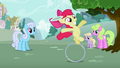 Apple Bloom on her ring while balancing plates S2E06.png