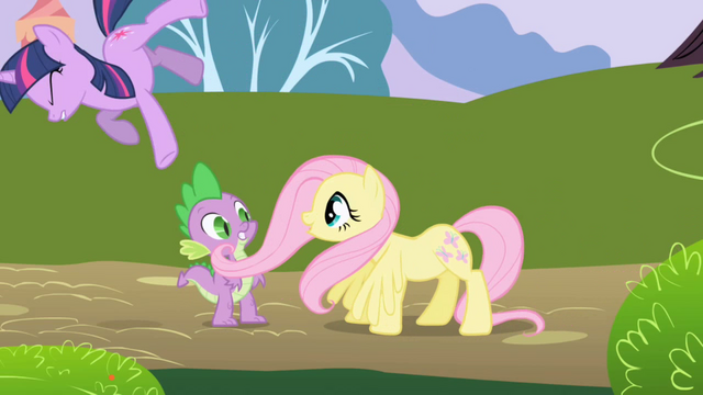File:Fluttershy accidentally knocks Twilight over S1E01.png