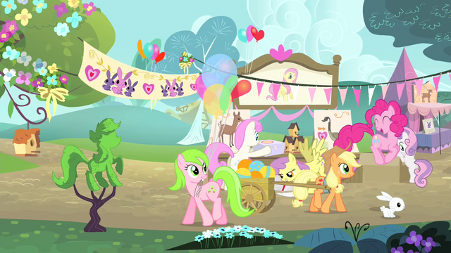 File:Pinkie Pie hopping while Applejack is pulling a wagon S4E14.png
