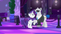The bouncer blocks Rarity from entering S6E9