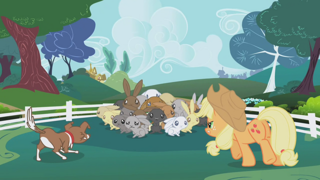 File:Applejack and Winona cornering rabbits S1E04.png