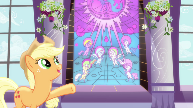 File:Applejack pointing at stained glass art S4E01.png