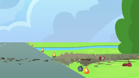 Debris left by Rainbow Dash's crash S6E7