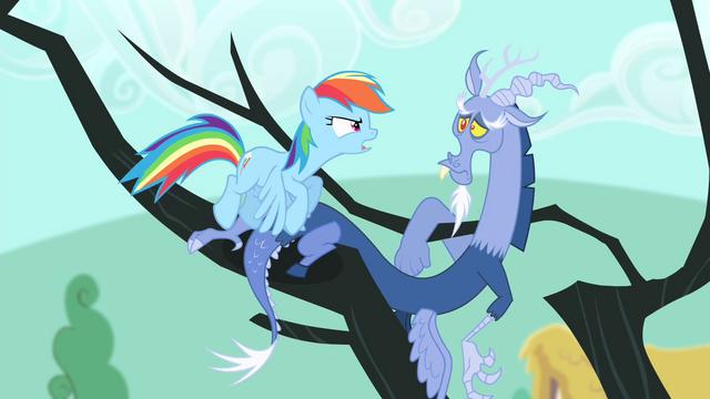 File:Rainbow Dash facing towards Discord S4E11.png