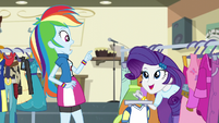 Rarity popping out of the costume rack EG3