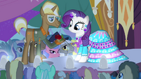 Trenderhoof giving Rarity a rose S4E13