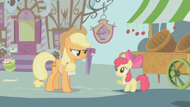 File:Applejack says Apple Bloom's apple-selling days are over S1E12.png