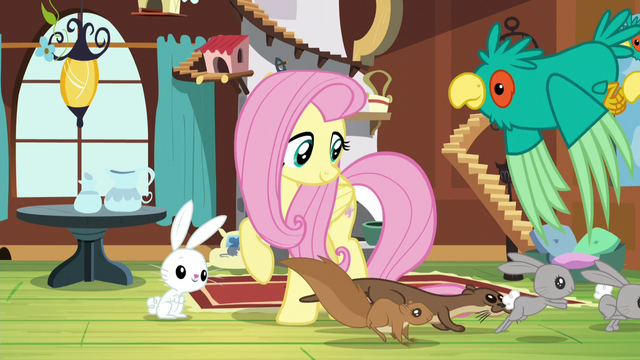 File:Fluttershy gathering animals together S5E3.png
