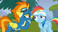 Spitfire whispers her nickname in Rainbow's ear S6E7