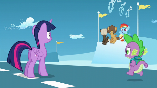 """File:Filly Rainbow """"This is way more exciting!""""; Spike approaches S5E26.png"""