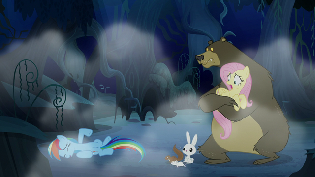 File:Fluttershy and animals watch Rainbow laugh S6E15.png