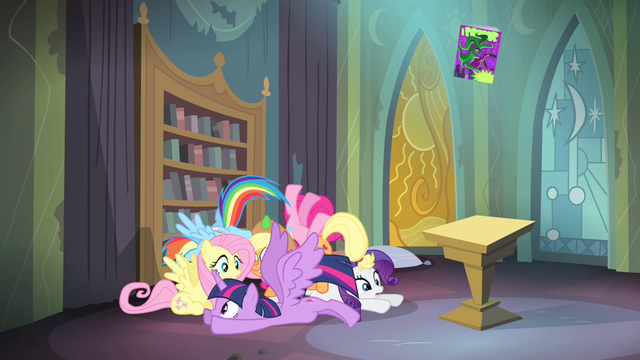 File:Main ponies back in the library S4E06.png